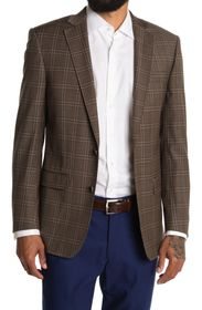 BROOKS BROTHERS Brown Check Two Button Notch Lapel