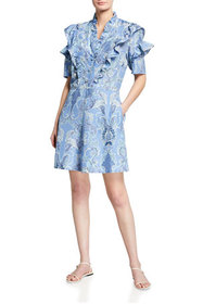 See by Chloe Ruffled Button-Front Silk Dress