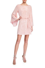 Jay Godfrey Maggie Sequin Flare-Sleeve Belted Mini