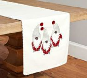 Pottery Barn Gnome Embroidered Linen/Cotton Table