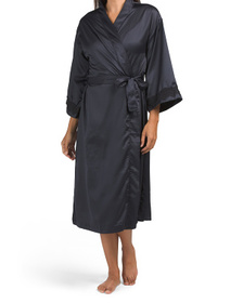 Long Satin Robe With Lace Insets