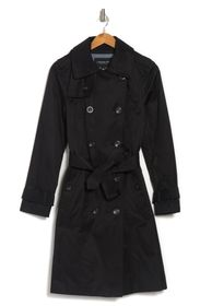 LONDON FOG Double-Breasted Tie Waist Trench Coat