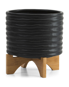 11in Textured Planter With Stand