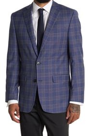 BROOKS BROTHERS Blue Check Two Button Notch Lapel