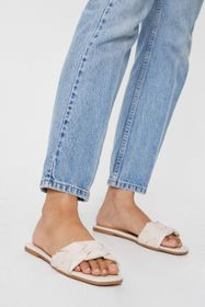 Nasty Gal Woven Faux Leather Square Toe Flat Mules