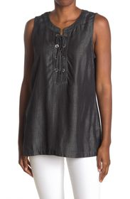 TOMMY BAHAMA All Night Lace-Up Neck Tank Top