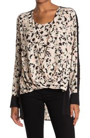 BCBGMAXAZRIA Floral Long Sleeve High/Low Tunic Top
