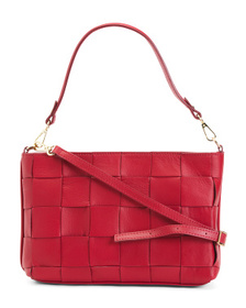 Made In Italy Leather Woven Shoulder Bag