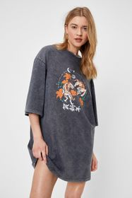 Nasty Gal Tiger Graphic Oversized T-Shirt Dress