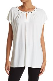 NY COLLECTIVE Grommet Neck Jersey Top (Plus Size)
