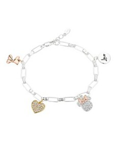 """Gold Flash-Plated Cubic Zirconia Minnie Mouse """"Lov"""
