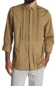 VALENTINO UOMO Pleated Long Sleeve Button Front Sh