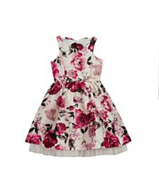 Big Girls Floral Printed Dress with Bow Back Detai