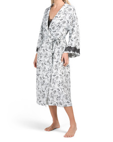 Long Satin Floral Robe With Lace Inset