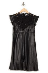 VALENTINO Leather & Lace Dress