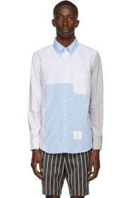 thom-browne - Blue & Grey Patchwork Hairline Check