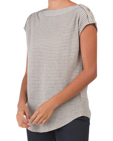 Boat Neck Tee With Rivet Details