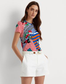 Ralph Lauren Flags-and-Stripes Stretch Cotton Tee