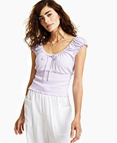 Smocked Scoop-Neck Top, Created for Macy's