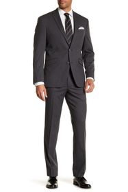 REACTION KENNETH COLE Gray Check Two Button Notch