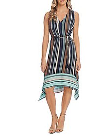 VINCE CAMUTO - Striped Belted Dress