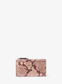 Michael Kors Small Snake Embossed Leather Card Cas
