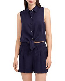 VINCE CAMUTO - Sleeveless Button Front Tie Waist T