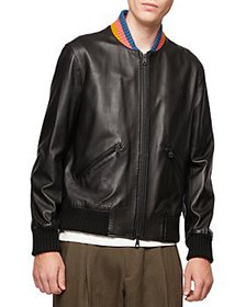 Paul Smith - Striped Collar Leather Bomber Jacket