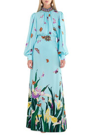 Andrew Gn Butterfly Floral-Print Belted Skirt