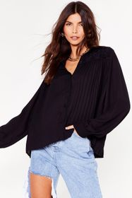 Nasty Gal Oversized Pleated Button Down Shirt