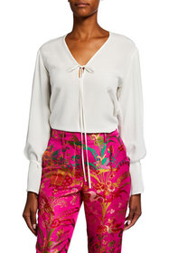 Etro Solid Long-Sleeve Silk Blouse