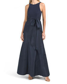 Sleeveless Long Gown With Sash