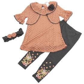 Girls (4-6x) Little Lass 2pc. Chevron with Floral
