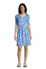 Lands End Women's Elbow Sleeve Fit and Flare Dress