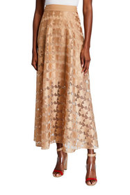 Akris Stern Embroidered Long Tulle A-Line Skirt