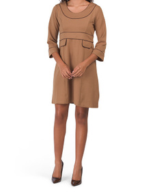 Three-quarter Sleeve Dress With Contrast Piping
