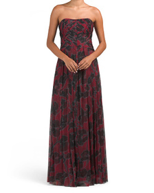 Pleated Floral Print Gown