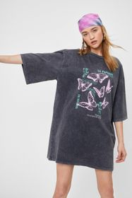 Nasty Gal Butterfly Oversized Graphic T-Shirt Dres