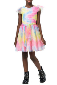 Zoe Girl's Tie-Dye Tulle Fit-and-Flare Dress, Size