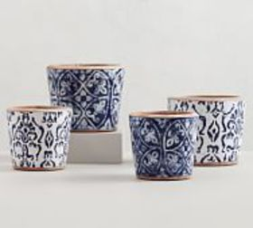 Pottery Barn Hand Painted Patterned Ceramic Plante