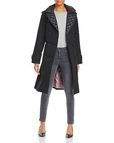 kate spade new york - Quilted Trim Hooded Trench C