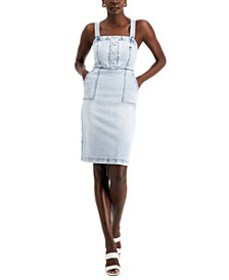 Lace-Up Denim Dress, Created for Macy's