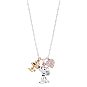 Womens Shine Tri-Tone Snoopy And Woodstock Necklac