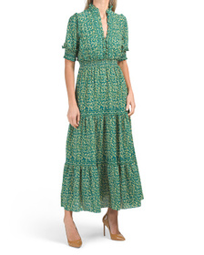 Elbow Sleeve Printed Tiered Bubble Crepe Maxi Dres