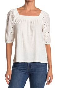 LUCKY BRAND EYELET PUFF SLEEVE PEASANT TOP