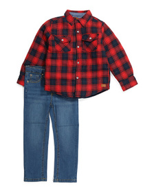 Little Boys Quilted Flannel Shirt And Jeans Set