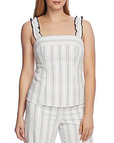 VINCE CAMUTO - Ruffle-Strap Pinstripe Top