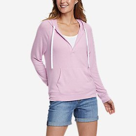 Women's Brushed Jersey V-Neck Hoodie