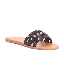 Leather Studded Flat Sandals