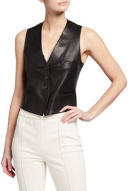 Rosetta Getty Cropped Leather Vest